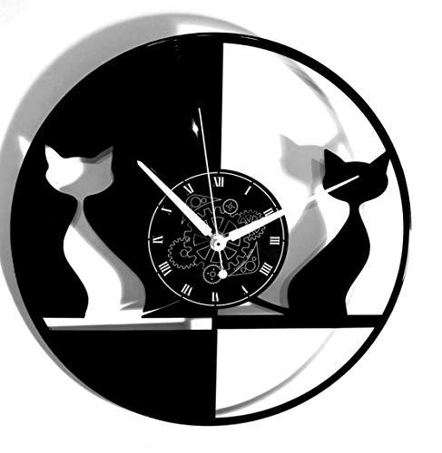 Instant Karma Clocks Orologio in Vinile da Parete Disco LP 33 Giri Instant Karma Gatto Coppia di Gatti, Vintage, Silenzioso