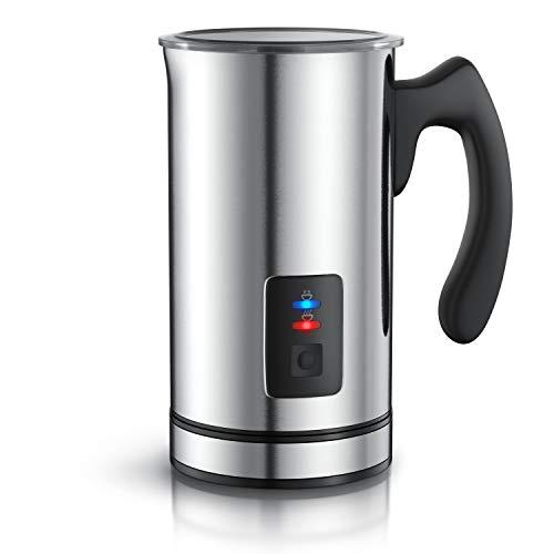 Arendo Milchaufschäumer Edelstahl automatisch Milk Frother | rostfreies Edelstahl-Doppelwanddesign | 2 Tasten für Warm- und Kaltaufschäumen