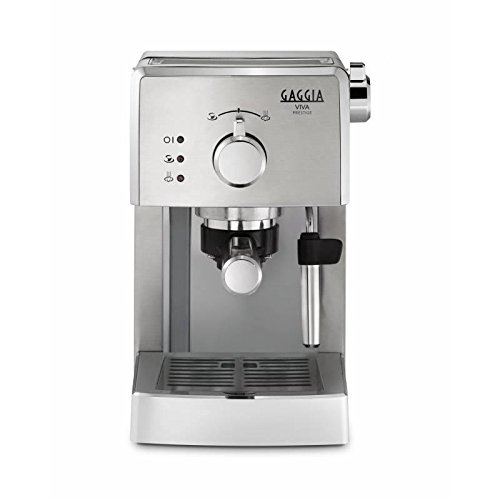 Gaggia Viva Prestige water filter espresso coffee device bundle (stainless steel) (2 months of Brita Intenza+) (1 cartridge) (1 cup, 2 cups) (15 bars) (Gaggia Pods, Illy ESE pods)