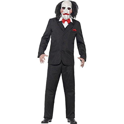Disfraz de terror Saw disfraz con máscara M 48/50 Killer de miedo disfraces disfraz asesino de muñecas Thriller disfraz Monster disfraz película de Halloween espeluznante hombre