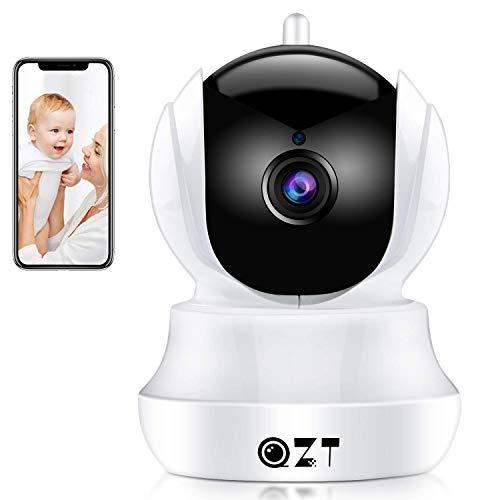 QZT Telecamera IP 1080P HD, Telecamera di Videosorveglianza WiFi con Visione Notturna, Rilevazione di Movimento, Audio Bidirezionale, Casa Videocamera Sorveglianza per Bambino Sambuco