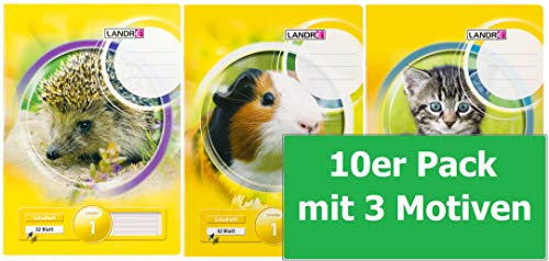 LANDRE 100050049 Schulheft 10er Pack A4 32 Blatt Lineatur 1 - für die 1. Klasse 3 Motive sortiert