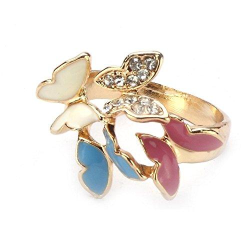 Mariposas Anillo (oro con blanco–Azul y fucsia mariposas) fabricada con esmalte y cristal por Joe Cool