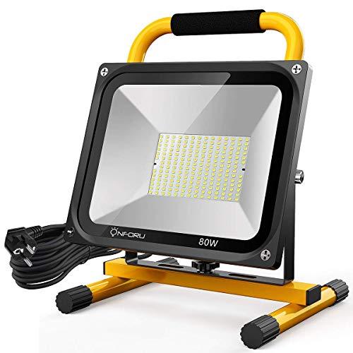 Onforu 7600LM 80W LED Baustrahler mit 5M Netzkabel | IP65 Wasserdicht Arbeitsleuchte Arbeitsscheinwerfer 5000K Kaltweiß | Bauscheinwerfer Strahler Außenstrahler für Werkstätte, Baustelle oder Garage