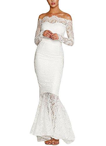 MAX MALL Damen Schulterfrei Party Kleid Fishtail Spitzen Brautjungfer Langes Abendkleid (S, Weiß)