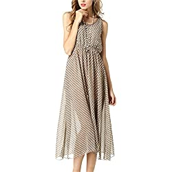 Fortuning's JDS Eleganter stilvoller Polka-Punkt-elastisches Taille Chiffon Midi Kleid mit rückseitiger Kappe