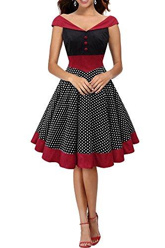 BlackButterfly 'Sylvia' Vestido Vintage De Lunares Pin-Up (Negro, ES 42 - L)