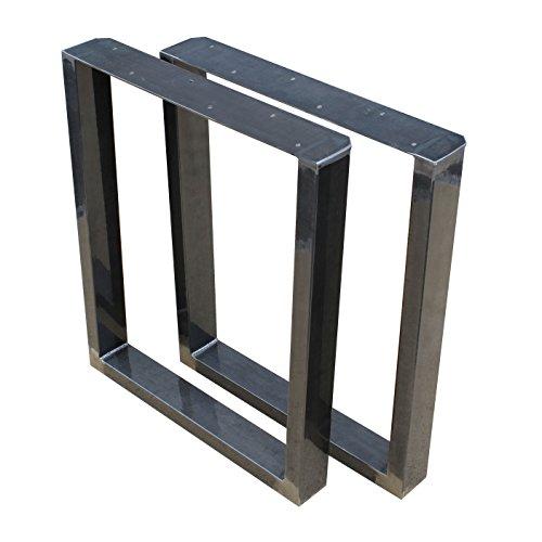 BestLoft® 1 Paar Tischkufen (80T) Industriedesign Tischgestell aus Rohstahl mit Klarlack (80x72cm)