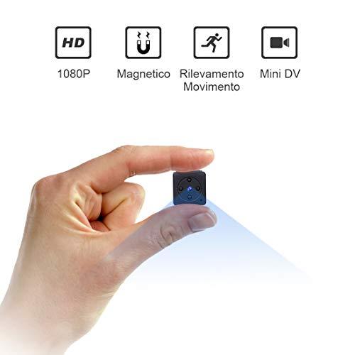 Micro Telecamera Spia Nascosta,NIYPS 1080P Portatile Mini Telecamera di Sorveglianza con Visione Notturna,Sensore di Movimento y Batteria, Senza Fili Esterno/Interno Spy Cam Piccola Microcamera Spia
