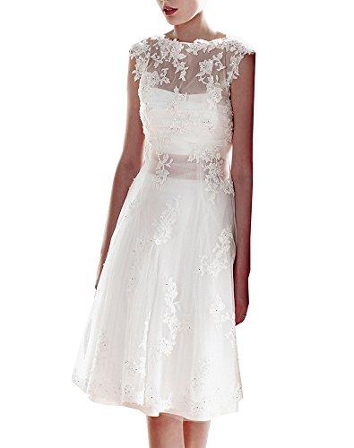 Erosebridal Knielangen Spitze Brautkleid Abendkleid DE 38 Weiß