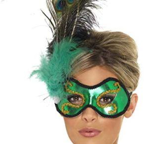 Esmeralda máscara Pavo Real de Ojos con el Ornamento Lateral de Primavera - de Smiffy
