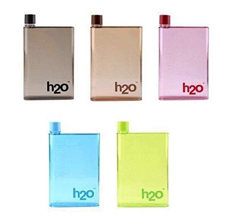 H2O Water Bottle Flat Reusable Portable Notebook Style Ultra Slim Water Bottle Memo Bottle.