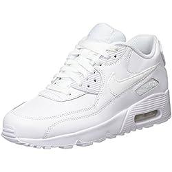 top fashion bb336 4b39a Nike Air MAX 90 Leather, Zapatillas para Niños, Blanco White 100, 37.5 EU