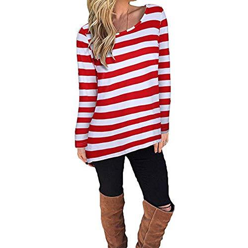 Vectry Camiseta con Manga Larga para Mujer,Camiseta De Rayas,Estampado De Rayas,De Moda,Cómodo (Rojo,S)
