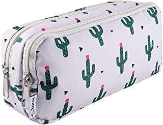 SIQUK Astuccio per penne a doppia capacità Astuccio per cerniere Cactus Astuccio per penne Cartone...