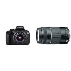 "Canon EOS 4000D - Cámara réflex de 18 MP (CMOS, APS-C, 9 puntos AF, filtros creativos, Full HD LCD 2.7"", WiFi/NFC) - Kit con objetivo EF-S 18-55mm III + Objetivo 75-300 mm f/4-5.6 III, color negro"