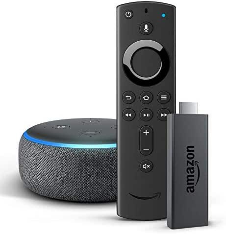 Fire TV Stick mit der neuen Alexa-Sprachfernbedienung + Echo Dot (3. Generation), Anthrazit Stoff