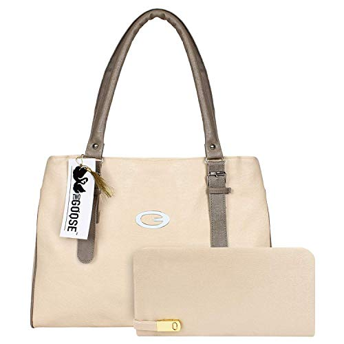 Bags Villa PU Leather Handbag and Wallet Clutch Combo for Women and Girls Ivory