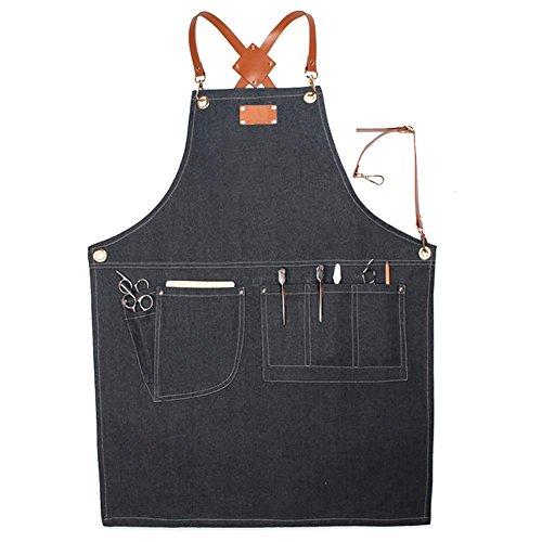 Sunneey Grembiule da Lavoro di Jeans da Uomo, Grembiule Chef Grembiule Regolabile con Cinturini Incrociati in Pelle, con 5 Tasche, Adatto per Falegnami, Meccanici, Pittori, Baristi