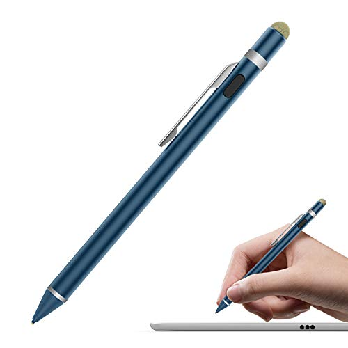 MoKo Universal Active Stylus, 2 in 1 High Precision Sensitivity 1.5mm Capacitive Pen, Metal Stylus Pen for Touch Screen Devices Smartphones & Tablets(iPad, iPhone X/8/8 Plus, Samsung etc.)- Indigo