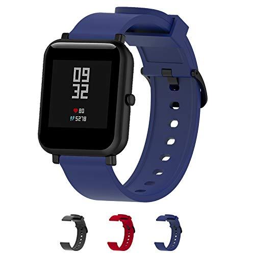 Cinturini per orologi in silicone-Cinturino a sgancio rapido-Cinturini in silicone morbido a sgancio rapido Cinturino di ricambio in pelle-La larghezza è di 20 mm- 3 colori-(Blue)