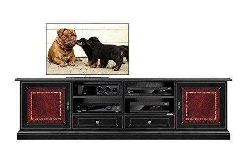 Mobile basso porta TV nero con inserti in pelle con fregio oro, dotato di 2 comodi cassetti e tanti...