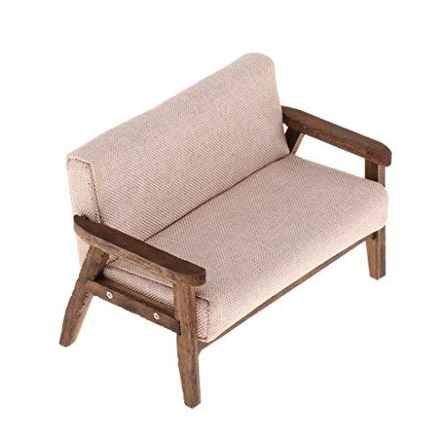 Injoyo 1/12 Divano a Due Posti in Miniatura Love Seat in Panno e Legno per Casa delle Bambole, Giochi di Ruolo - Rosa, 11.5x6x7.2cm