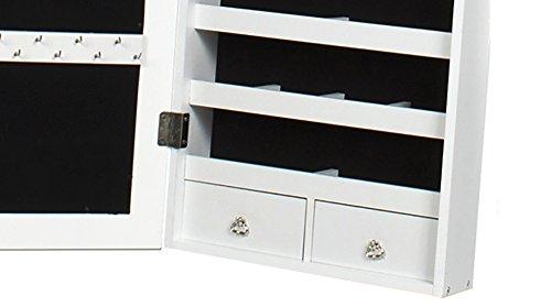 Intirilife – Eleganter Hänge-Schmuck-Schrank mit LED Beleuchtung, abschließbarer Spiegeltür mit 2 Schubladen und Haken für Ketten, Ohrringe, Schmuck in Weiss - 4