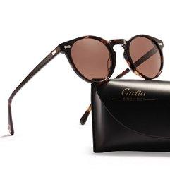 Carfia-Gafas-de-Sol-Polarizadas-mujer-hombre-Retro-Estilo-gafas-UV400-gafas-de-sol-para-conducir-viajes-playa-Marco-de-tortuga-con-lente-marrn