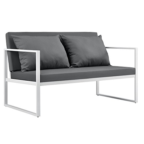 [casa.pro] Divano da giardino - sofa esterno - 70 x 114 x 60 cm - Mobile da giardino imbottito - Grigio/Bianco