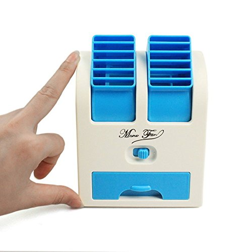 """Bulfyss 5"""" Usb And Battery Powered Mini Portable Dual Blower Desk Table Air Cooler Fan"""