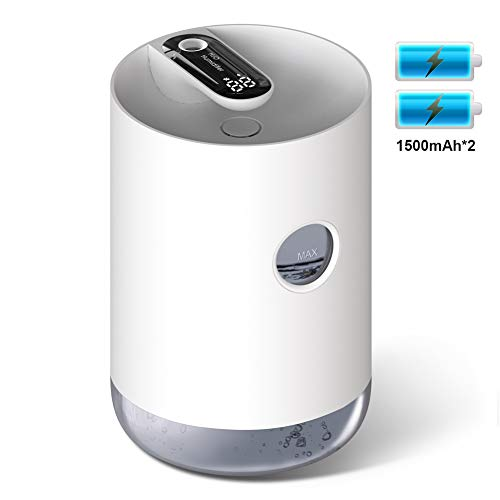 Kabellose Luftbefeuchter - Wiederaufladbare Premium-Befeuchtungsanlage mit 1L Wassertank, flüsterleiser Ultraschall Funktion, automatischer Abschaltung und Nachtlichtfunktion