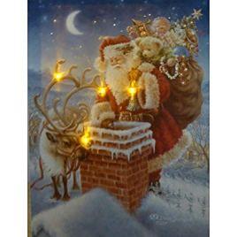 UK-Gardens Père Noël sur Le Toit de Photo de Noël avec lumières LED à Piles avec minuteur en Fibre Optique Impression sur Toile 40x 30cm