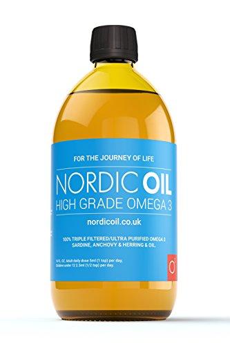 Nordic Oil Hohe Festigkeit 500ml Omega 3 Fischöl. Geschmack Award Winning Lemon Aromatisiert und Drittanbieter getestet