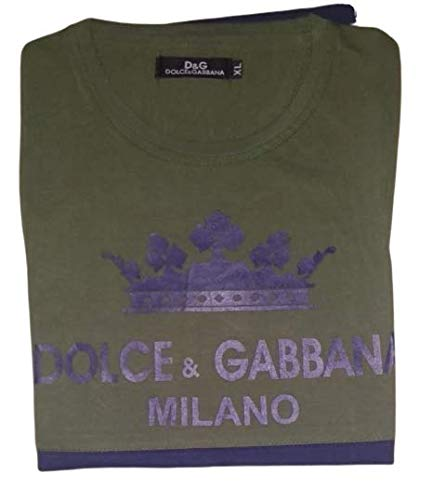 Dolci Gabbana & Mellano Printed Cotton T-Shirt for Men & Boys (Green)