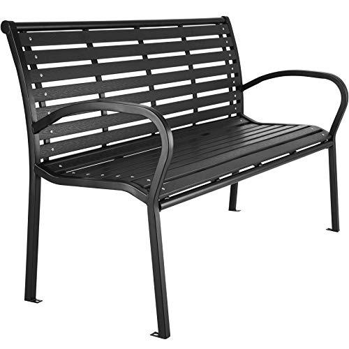 TecTake 403213 Premium Gartenbank, 3-Sitzer, WPC Sitzbank, widerstandsfähig, bis 250 kg belastbar, 126 x 62 x 81,5 cm, schwarz