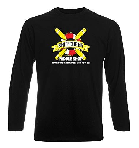 T-Shirt Manica Lunga Uomo Nera WES1151 Paddle Shop Funny Canoeing Kayaking