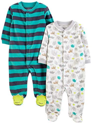 Simple Joys by Carter's Baby - Confezione da 2 pile con piedi per dormire e giocare ,Navy Fox/Gray...