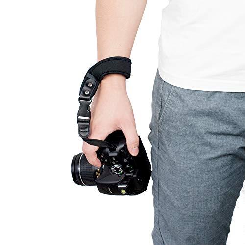 Cinturino da Polso Reflex, Sugelary Cinghia Fotocamera Reflex per Canon Nikon Sony Fujifilm Olympus DSLR SLR Nero (Cinturino da Polso)