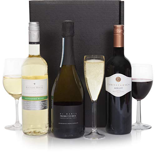 Luxury Wine & Prosecco Hamper - Three Bottle - Red, White & Prosecco Wines - Trio Wine Selection In Gift Box