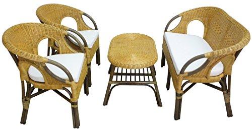 Set completo salotto in vimini bambù Mandolino rattan e giunco naturale divano poltrone tavolo con inserti marrone