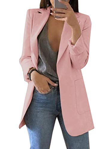 Minetom Damen Cardigan Elegant Blazer Leicht Dünn 3/4 Längere Bolero Jacke Blazer Slim Fit Anzug Trenchcoat A Rosa DE 36
