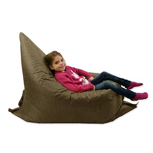 Grande poltrona a sacco per bambini, 6 modi d'uso, sdraio da giardino - Gigante cuscino per esterni o da pavimento, colore marrone - 100% impermeabile