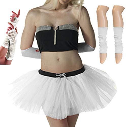Islander Fashions Women 80s Fancy Dress Neon 3 Strati Tutu Gonna Set scaldamani Fishnet Guanti Set...