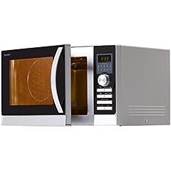 Sharp R843INW Mikrowelle / / 49.7 cm / EXPRESS PIZZA – Programm: Pizza optimal in 5 -9 Minuten zubereitet / Silber-Schwarz / Heißluft-Funktion / Grillfunktion / Auftaufunktion / 5 variable Leitsungsstufen / LED-Anzeige