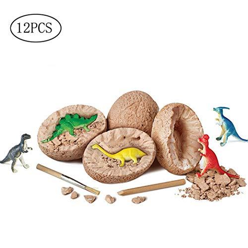 Yeelan Dig Dinosaur Dino Egg Dig Kit 12 Dinosauri Fossili Kit di Scavo Giocattoli per Bambini Festa di Compleanno di Pasqua Archeologia Giocattolo Scientifico (12 Pezzi Uova di Scavo)