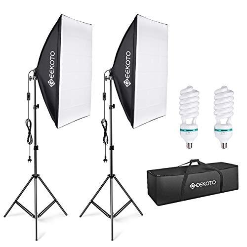 GEEKOTO Softbox Kit di Illuminazione 50 x 70cm, Luci da Studio Fotografico con 2 Lampadine E27 85W...