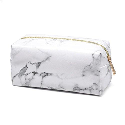 Sacchetto cosmetico in marmo Borsa per trucco quadrata Borsa cosmetica da viaggio in pelle PU...