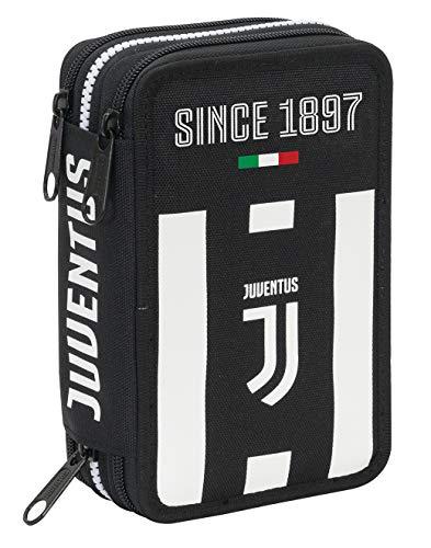 Astuccio 3 Zip Juventus Coaches, Bianco & Nero, Con materiale scolastico: 18 pennarelli e 18...