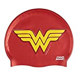 Zoggs Kids' DC Super Heroes Wonder Woman Silicone Swimming Cap, Red/Yellow, One Size